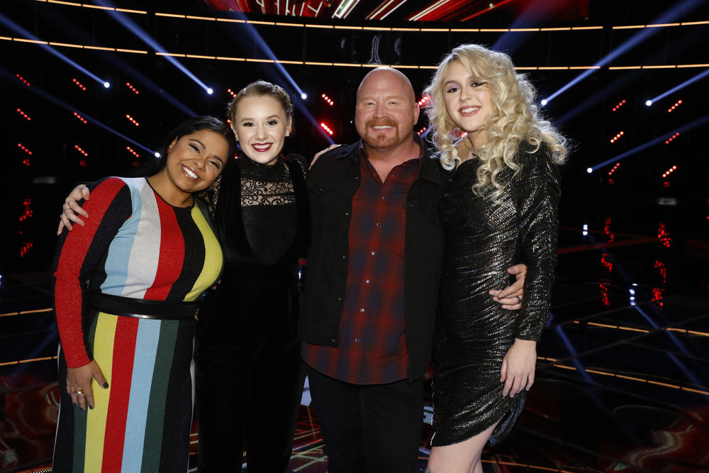 The Season 13 Top 4 on The Voice, Brooke Simpson, Addison Agen, Red Marlow and Chloe Kohanski (NBC Photo)