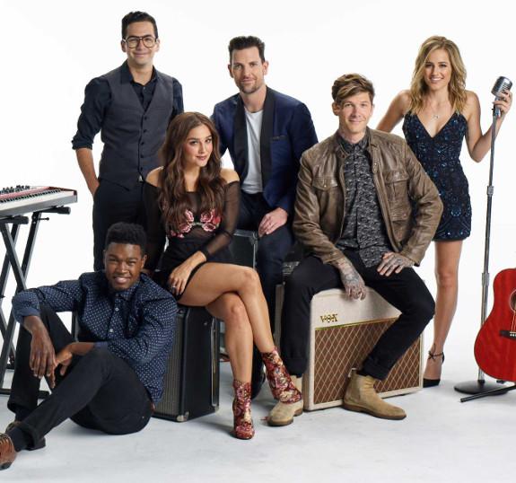 Matthew Schuler, Michael Sanchez, Alisan Porter, Chris Mann, Matt McAndrew and Mary Sarah in a publicity photo for The Voice Neon Dreams.
