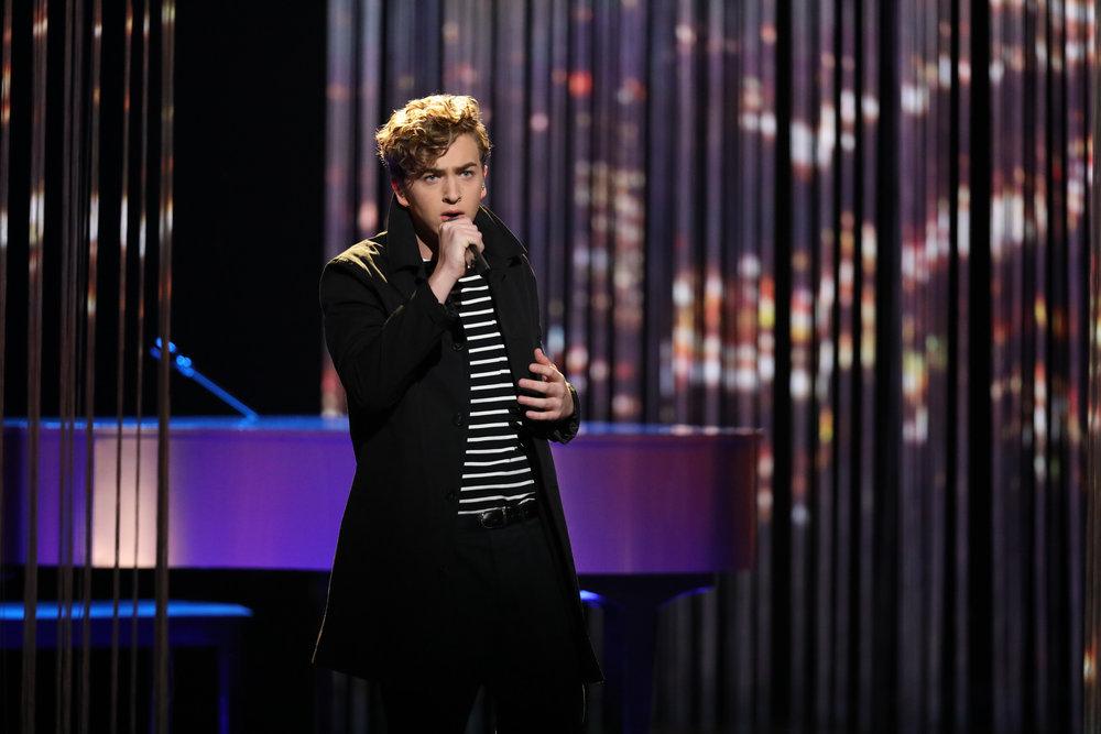 "Noah Mac performs ""Ordinary World"" on The Voice Top 10 show Monday night. (NBC Photo)"