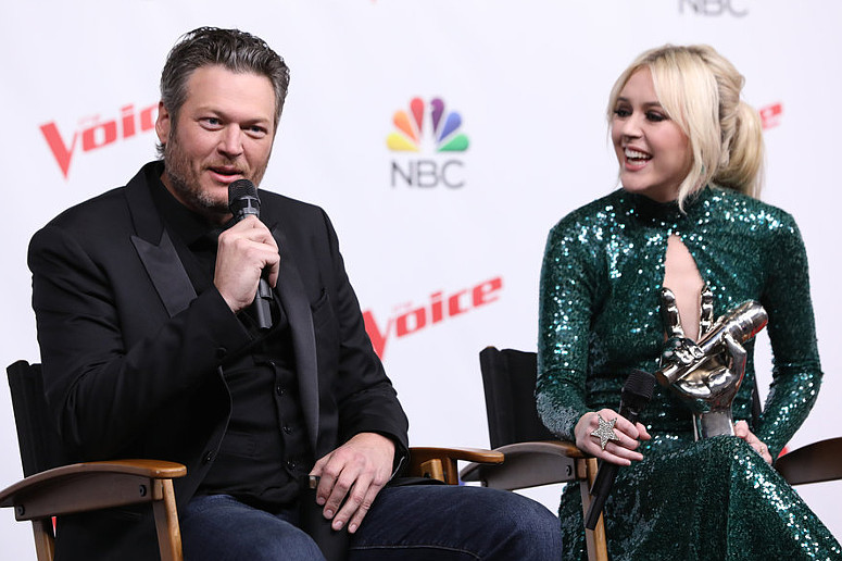 Blake Shelton and Chloe Kohanski during Tuesday night's post-show press conference after Chloe was named winner of The Voice Season 13. (NBC Photo)