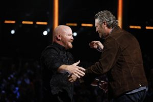 Red Marlow is congratulated by Blake Shelton after making the Top 8 on The Voice. (NBC Photo)