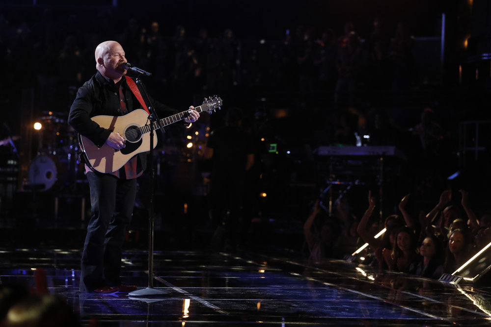 Red Marlow performs his save song Tuesday on The Voice. (NBC Photo)