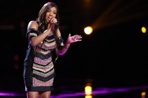 Shi'Ann Jones performs her save song on The Voice Top 10 results show. (NBC PHoto)