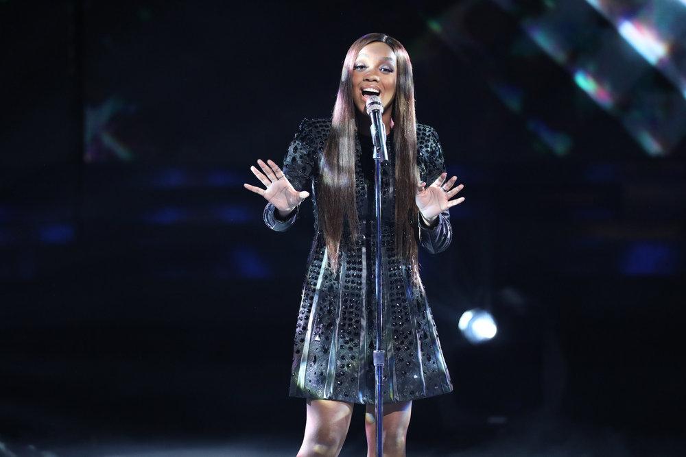"Shi'Ann Jones performs ""Diamonds"" on The Voice Top 10 show Monday night. (NBC Photo)"