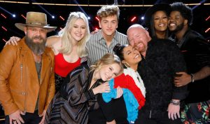 The Top 8 on The Voice include Adam Cunningham, Chloe Kohanski, Noah Mac, Addison Agen, Brooke Simpson, Red Marlow Keisha Renee and Davon Fleming (NBC Photo)