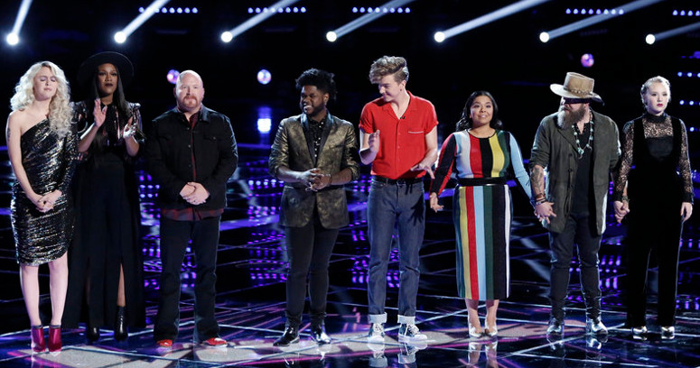 The final eight -- Chloe Kohanski, Keisha Renee, Red Marlow, Davon Fleming, Noah Mac, Brooke Marlow, Adam Cunningham and Addison Agen -- wait to hear their fate on The Voice. (NBC Photo)
