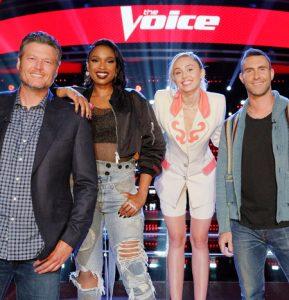 The Season 13 coaching panel, Blake Shelton, Jennifer Hudson, Miley Cyrus and Adam Levine (NBC Photo)