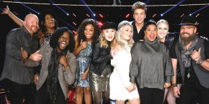The Voice Top 10 includes, from left, Rd Marlow, Keisha Renee, Davon fleming, Shi'Ann Jones, Addison Agen, Ashland Craft, Noah Mac, Brooke Simpson, Chloe Kohanski and Adam Cunningham (NBC Photo)