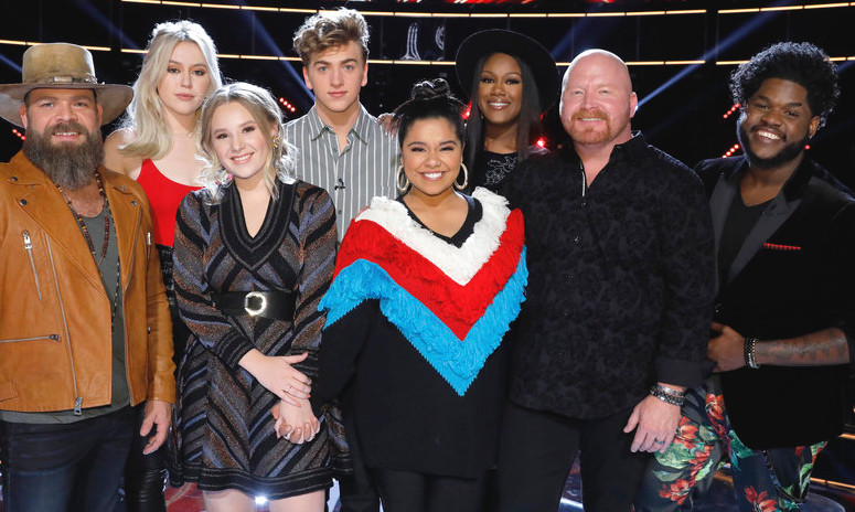 The Top 8 on The Voice include Adam Cunningham, Chloe Kohanski, Noah Mac, Addison Agen, Brooke Simpson, Red Marlow Keisha Renee and Davon Fleming (NBC Photo)