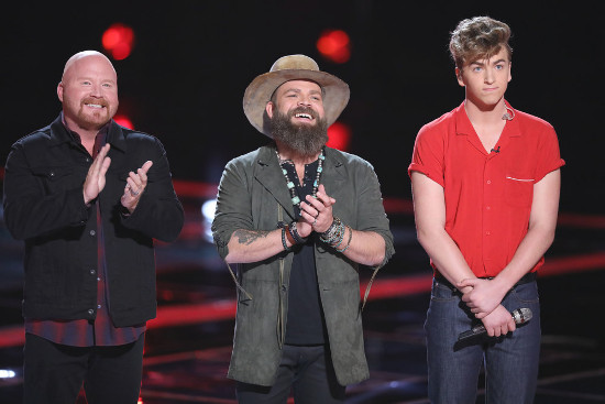 Red Marlow, Adam Cunningham and Noah Mac await instant save results on The Voice Tuesday night. (NBC Photo)