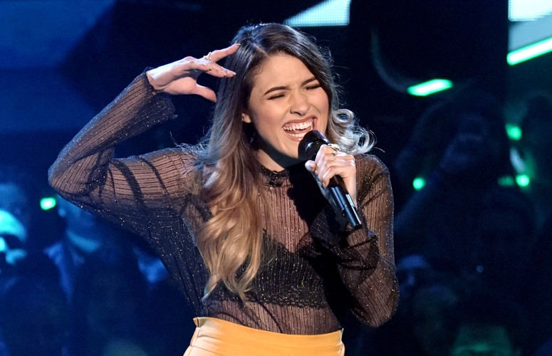 "Kendyle Paige earned a seat on The Four Thursday night. She sang ""Me, Myself and I"" to earn the right to challenge, then defeated Zhavia with a performance of ""Pillowtalk."" (FOX Photo)"