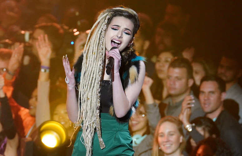 "Zhavia was eliminated from The Four Thursday night in a match with Kendyle Paige. Zhavia performed ""Diamonds."" (FOX Photo)"