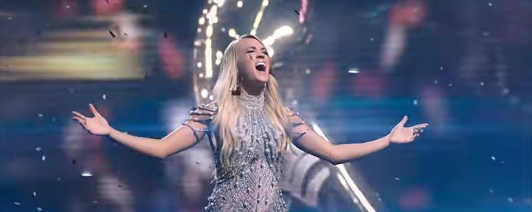 Carrie Underwood during the taped opening to Sunday's Super Bowl.