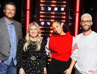Season 14 Voices coaches Blake Shelton, Kelly Clarkson, Alicia Keys, Adam Levine