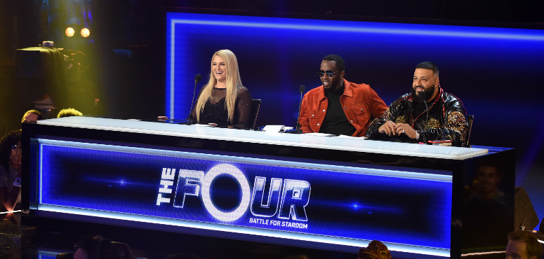 """Meghan Trainor, Sean """"Diddy"""" Combs and DJ Khaled watch a performance during The Four Season 1 finale. (FOX Photo)"""